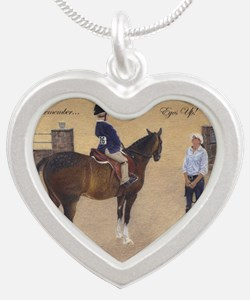 Eyes Up, Heels Down Horse Silver Heart Necklace