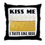 Kiss Me Beer Throw Pillow