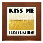 Kiss Me Beer Framed Tile