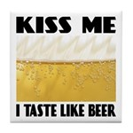 Kiss Me Beer Tile Coaster