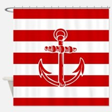 Red Anchor On Red Stripes Shower Curtain
