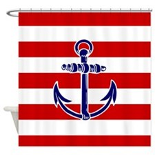 Blue Anchor On Red Stripes Shower Curtain