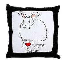 I Heart Angora Rabbits Throw Pillow