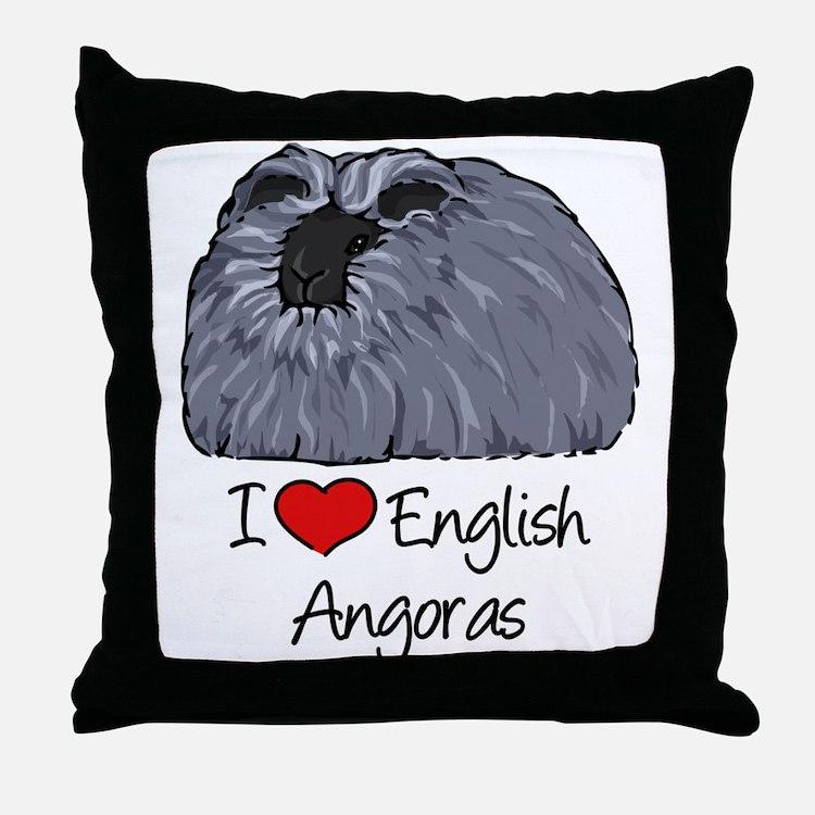 I Heart English Angoras Throw Pillow