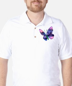Polygon Mosaic Pink and Blue Butterfly T-Shirt