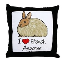 I Heart French Angora Throw Pillow
