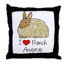 I Heart French Angora Throw Pillow