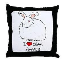 I Heart Giant Angoras Throw Pillow