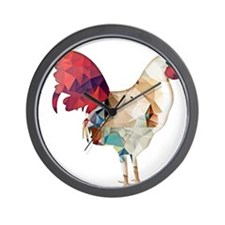 Polygon Mosaic Colorful Rooster Wall Clock