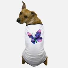 Polygon Mosaic Pink and Blue Butterfly Dog T-Shirt