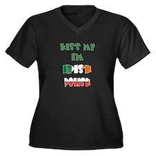 Kiss Me I'm Irish Polish Women's Plus Size V-Neck