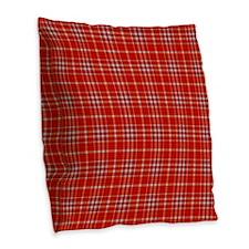 Red Tartan Pattern Burlap Throw Pillow
