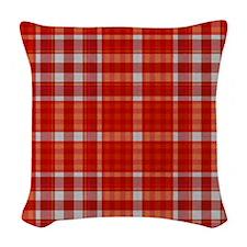 Red Tartan Pattern Woven Throw Pillow