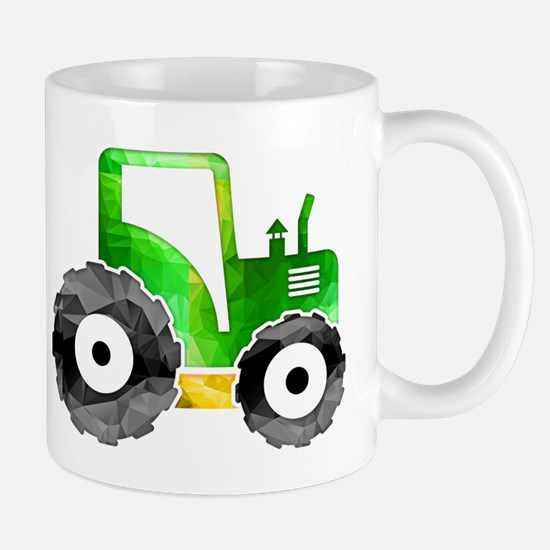 Polygon Mosaic Green Yellow Tractor Mugs