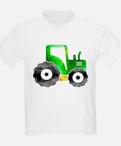 Polygon Mosaic Green Yellow Tractor T-Shirt