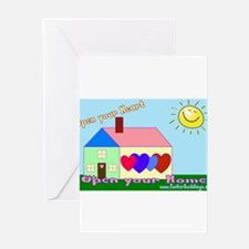 Open your heart w/website Greeting Cards