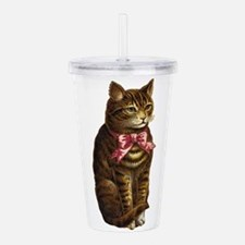 cat w red bow Acrylic Double-wall Tumbler