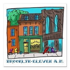 "Brooklyn Eleven A.M. Square Car Magnet 3"" x 3"""