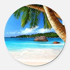 Tropical Island Round Car Magnet