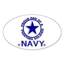 """Proud Dad of a Fighting Soldier"" Oval Decal"