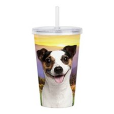 Jack Russell Meadow Acrylic Double-wall Tumbler