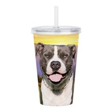 Pit Bull Meadow Acrylic Double-wall Tumbler
