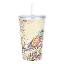 Bird and Flowers Acrylic Double-wall Tumbler