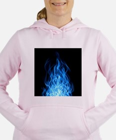 Blue Flames Women's Hooded Sweatshirt