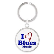 I Heart Blues Music Keychains