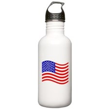 Waving United States (50 Stars) Flag Water Bottle