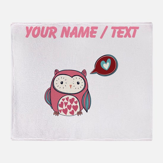 Custom Cartoon Pink Love Owl Throw Blanket