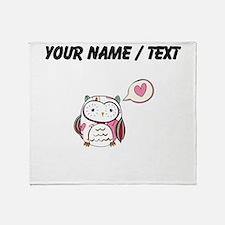 Custom Cartoon White Love Owl Throw Blanket