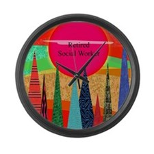 Retired Social worker 2 Large Wall Clock