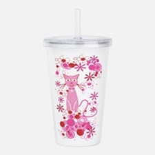 Fancy Pink Cat Acrylic Double-wall Tumbler
