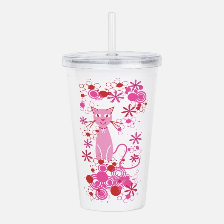 Fancy Pink Cat Acrylic Double-wall Tumbler