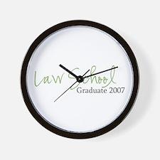 Law School Graduate 2007 (Green Script) Wall Clock