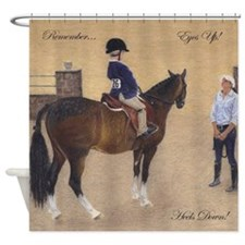 Eyes Up, Heels Down Horse Shower Curtain