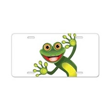 Happy Green Frog Aluminum License Plate