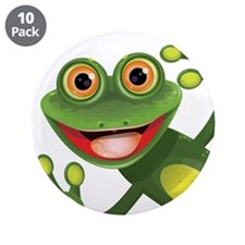 """Happy Green Frog 3.5"""" Button (10 pack)"""
