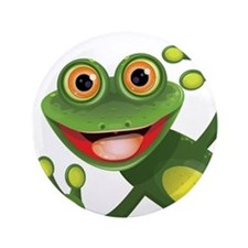 "Happy Green Frog 3.5"" Button"
