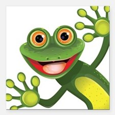 """Happy Green Frog Square Car Magnet 3"""" x 3"""""""