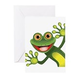 Happy green frog Greeting Cards (20 Pack)