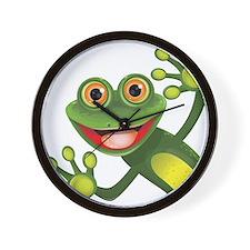Happy Green Frog Wall Clock
