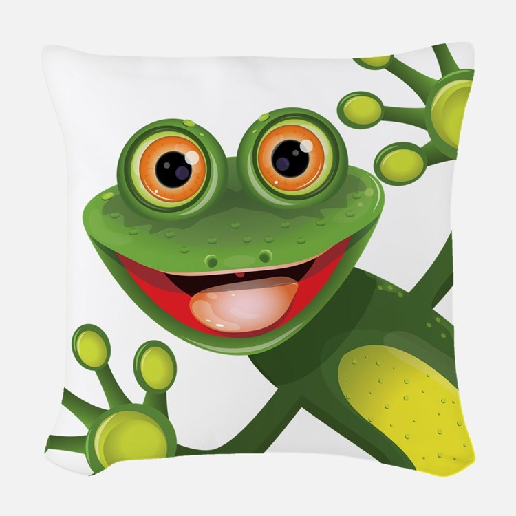 Happy Green Frog Woven Throw Pillow