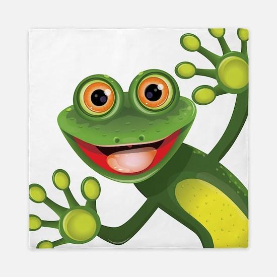 Happy Green Frog Queen Duvet
