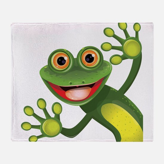 Happy Green Frog Throw Blanket