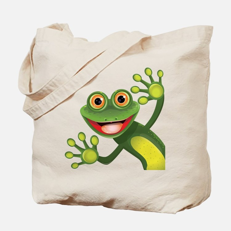 Happy Green Frog Tote Bag