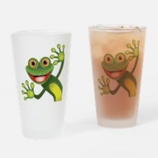 Happy Green Frog Drinking Glass