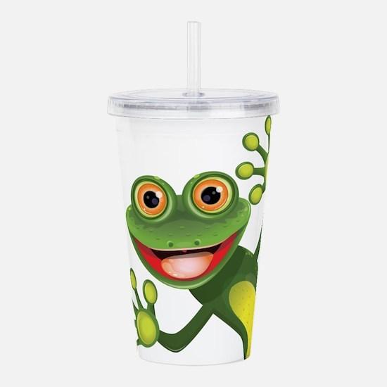 Happy Green Frog Acrylic Double-wall Tumbler