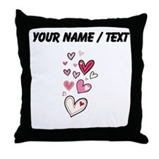 Custom Floating Hearts Throw Pillow